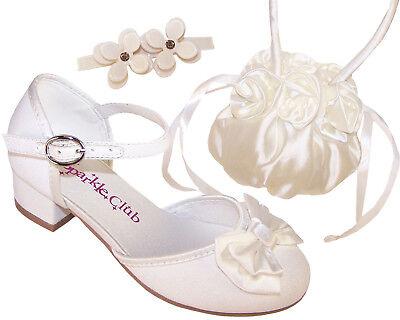 Mädchen Kinder Elfenbein Blumenmädchen Brautjungfer Absatz Schuhe Satin Tasche
