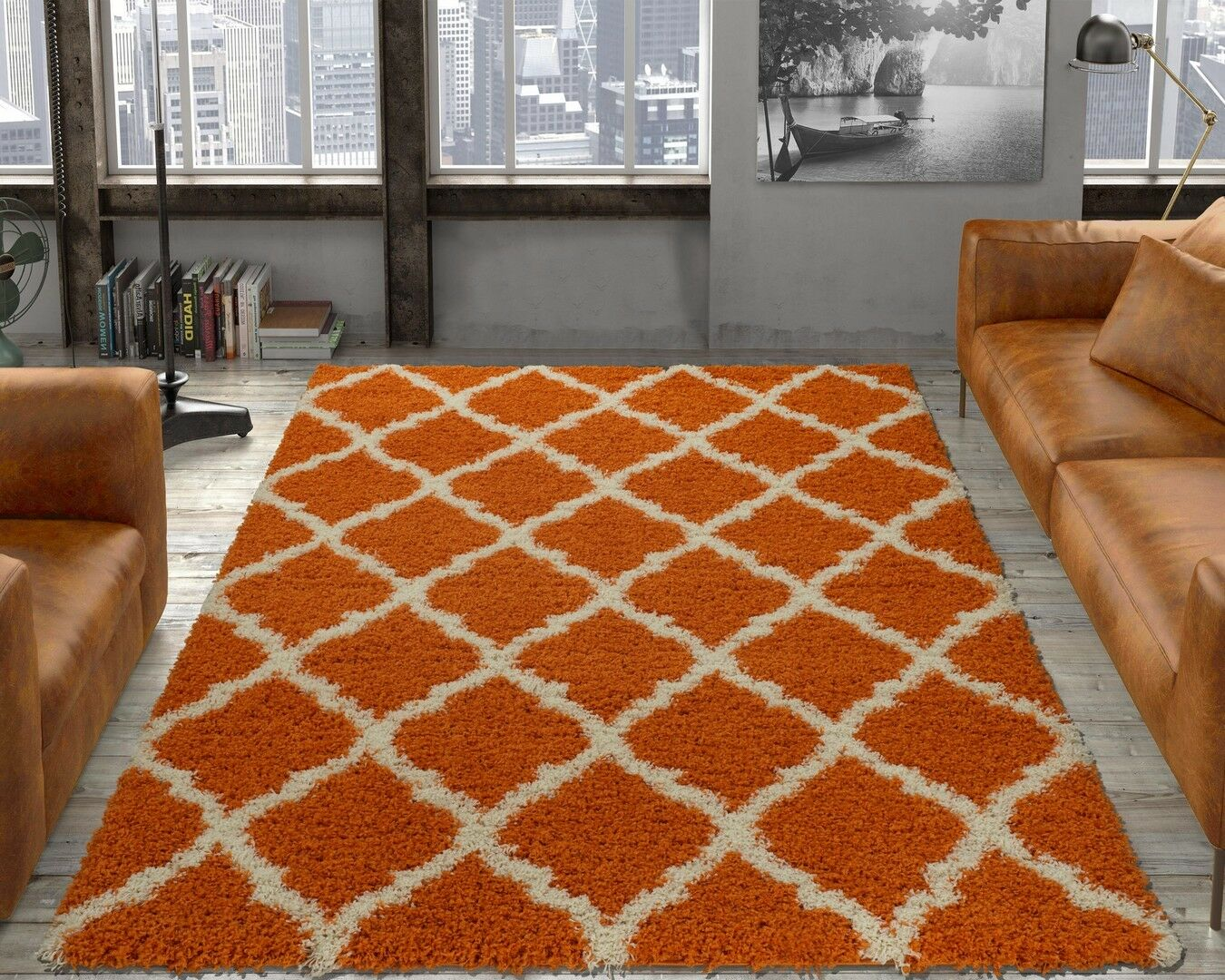 AUTHENTIC 5x7 Ottomanson Ultimate Shaggy Orange Moroccan Tre