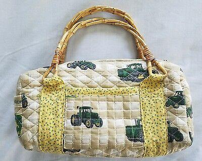John Deere Blessed Bags Quilted Handbag Purse Pocketbook Bamboo Handles