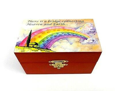 Pet Urn Cat Dog Wood Box Rainbow Bridge Poem Cremation Ashes Small Memorial Box