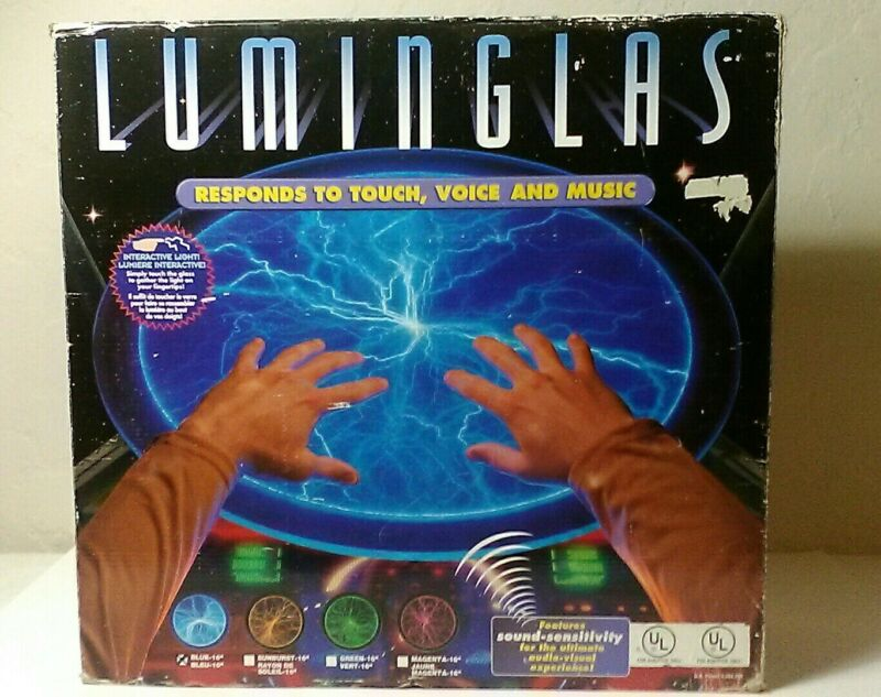 """Rare Luminglas 16"""" Blue Plasma Responds to touch, voice and music. Works Great"""