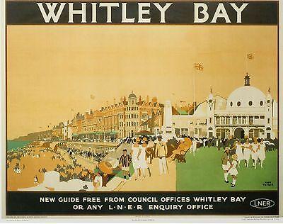Vintage Railway Advertising  rail travel poster  A4 RE PRINT Whitley Bay