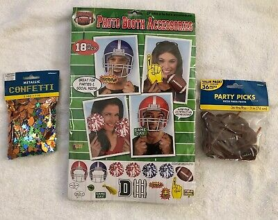Lot of Football Party/Photo Booth Accessories confetti party selfie  props