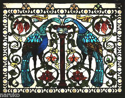 La FARGE LARGE WINDOW PEACOCKs ATTRIBUTED TO LaFARGE PURE GLAMOROUS GLASS CHUNKS