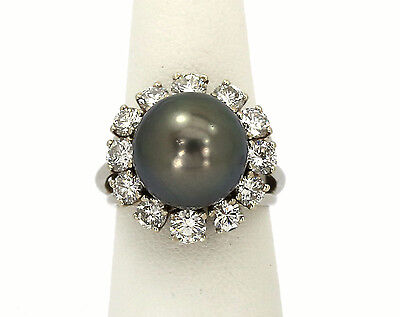 STYLISH 18K WHITE GOLD, BLACK PEARL & SPARKLING DIAMONDS LADIES DRESS RING