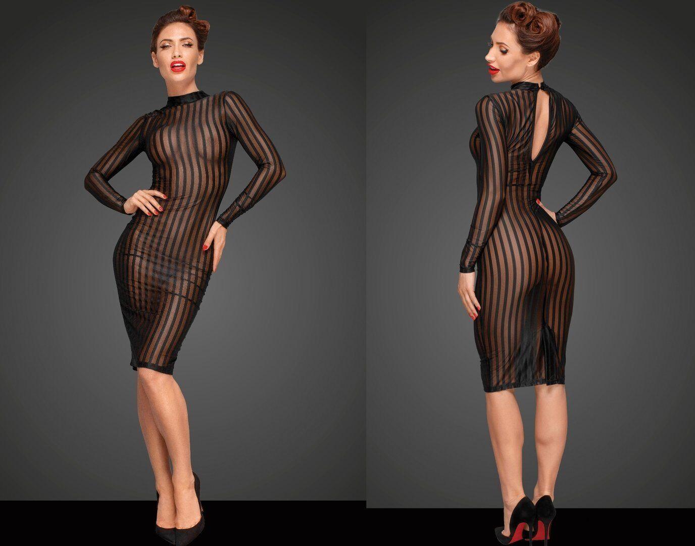 details zu noir handmade tÜll kleid durchsichtig streifen transparent  clubwear schwarz netz