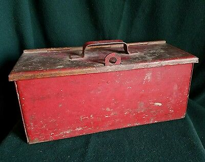 Vintage Heavy Metal Strong Lock Box Steampunk Industrial Tool - Free Shipping