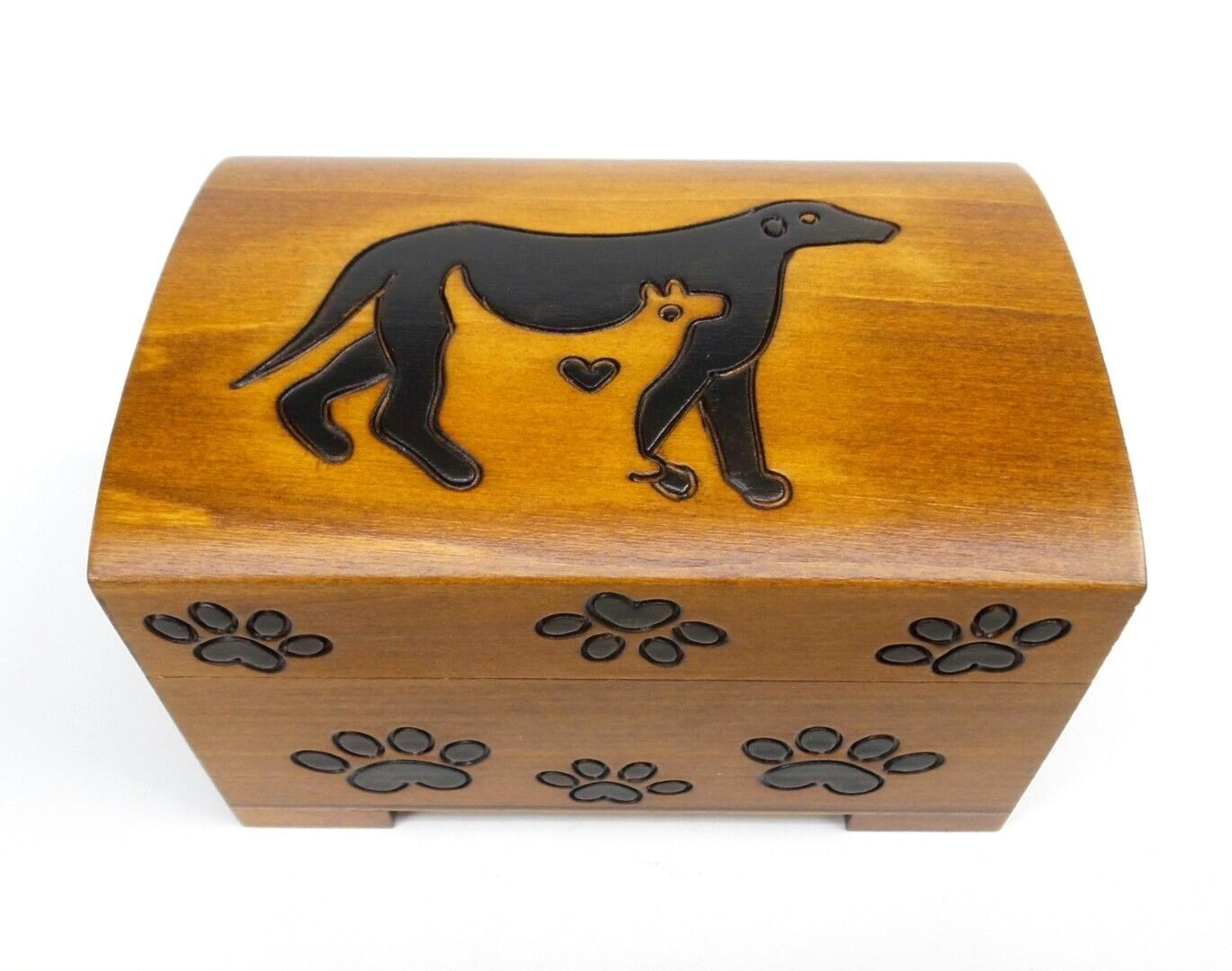 Pet Urn Cat Dog Paw Print Wood Box Cremation Ashes Wood Ches