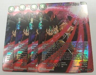 4 x Increasing Evil Masked Saiyan  P-029 PROMO Dragon Ball Super Card PLAYSET 4X