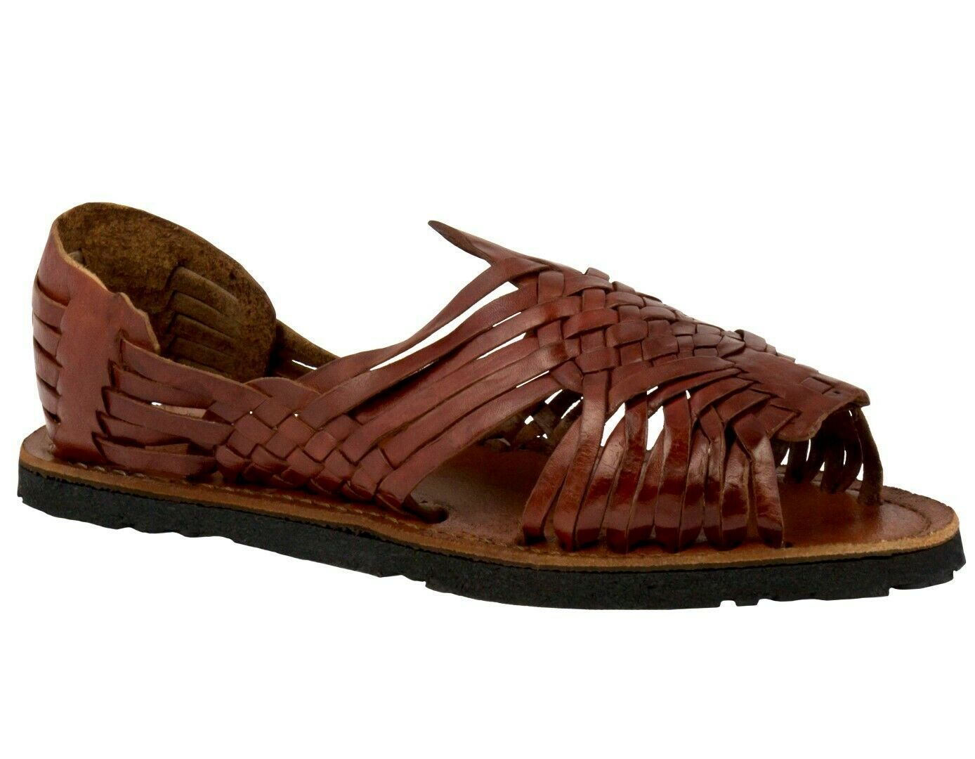 Men Cognac Sandals Mexican Huaraches Authentic Leather Handmade Slip On Open Toe