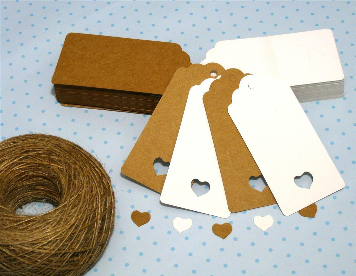 10/25/50/100 Scallop Rectangular Kraft Gift Tags Paper Crad Label + Free Strings