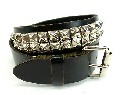 Genuine Leather Two Row Chrome Pyramid Stud Belt Size 30 Made in -