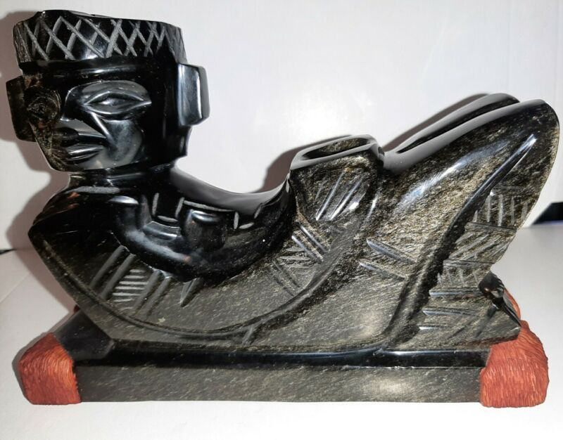 Mexican Chacmool Figurine Gold Sheen Obsidian Carving Aztec Mayan