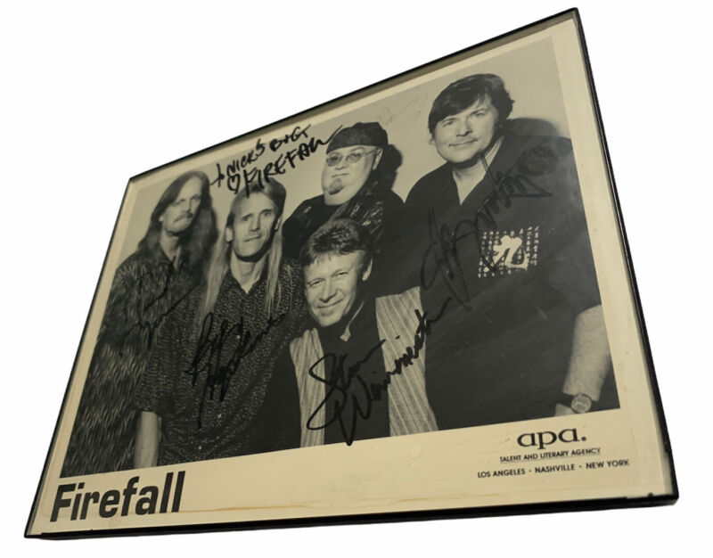 "FIREFALL: Whole Band Autographed Photo W/ Frame 10""x8"""