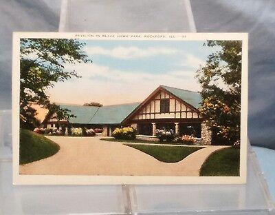 Blackhawk Park (Vintage ROCKFORD, IL Illinois POSTCARD Pavilion in Black Hawk Blackhawk Park)