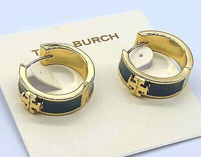 Tory Burch Gold Tone Kira green Enamel Huggie Earrings Enamel Gold Tone Earrings