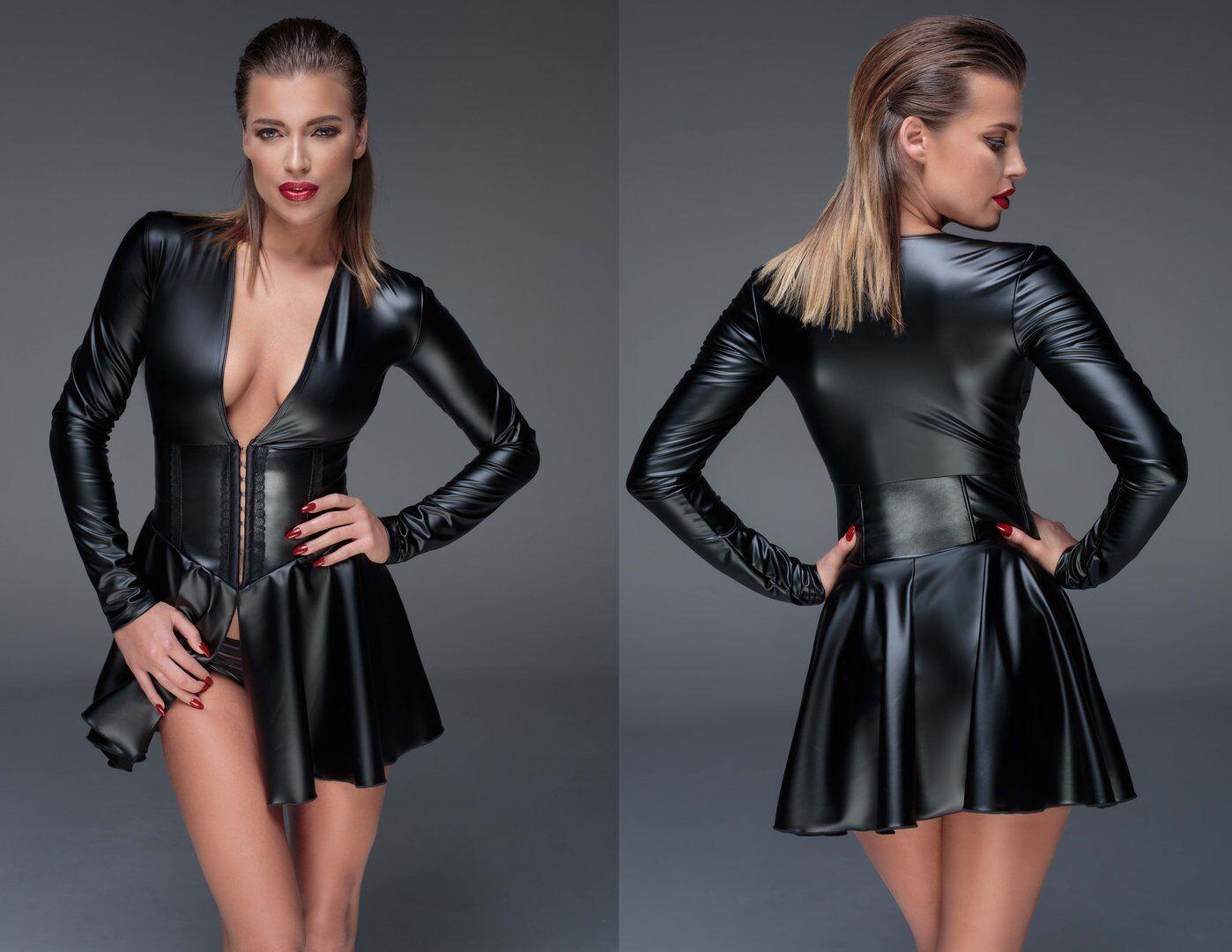 NOIR HANDMADE POWERWETLOOK KLEID wetlook korsage schwarz kunstleder clubwear