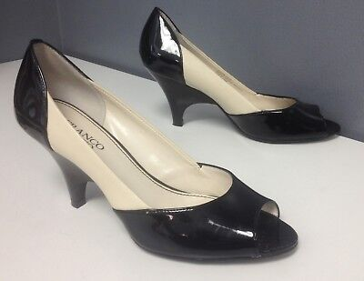 FRANCO SARTO Vintage Beige Black Leather Open Toe High Heel Pumps Sz 8 B4479 Open Toe Vintage Pumps