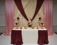 Dessert tables with customized backdrop decor and desserts