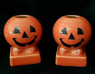 2 Fiesta Ware Happy Halloween Pumpkin Candlestick Holder-Homer Laughlin-HLC USA