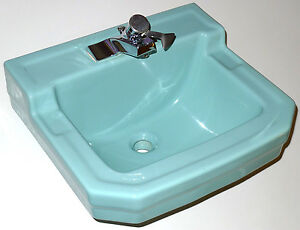 vintage gerber dawn blue bathroom sink mid century