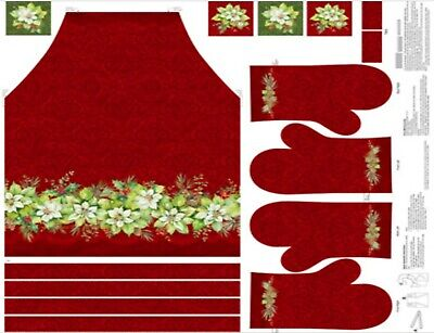 Deck the Halls Apron Oven Mitts Northcott 36x43 Panel Cotton Fabric-$18.99/panel, used for sale  Shipping to Canada