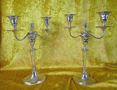Jugendstil 2 Kerzenleuchter Kandelaber Sterling Silber England Sheffield um 1895