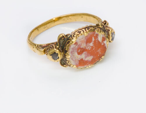 Ancient Agate Intaglio & Antique Yellow Gold & Diamond Ring