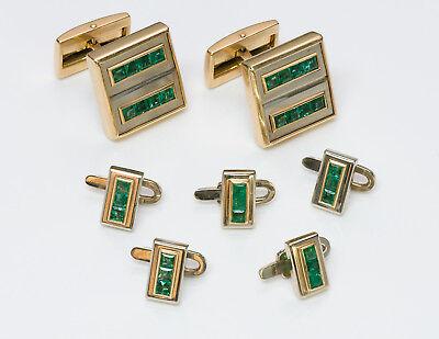 Emerald Stud Cufflinks - Vintage Alan Adler 18K Gold Emerald Cufflinks & Stud Set