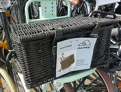 Fahrradkorb mit Deckel und  Riemen für vorne, schwarz Größe M Weidenkorb VR Korb