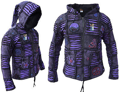 (Men Purple Jacket Psychedelic Gothic Fleece lined Embroidery Elf Pointed Hoodie)