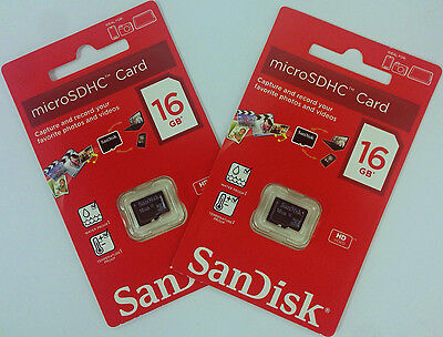 2 Gb Microsdhc Memory - SanDisk Lot of 2x 16GB = 32GB Class 4 micro SD SDHC microSD HC Memory Flash Card