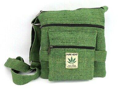 Hemp Crossbody Saddle Bag Purse Boho Hippie Green Travel Shoulder Bag (Cotton Hemp Shoulder Bag)