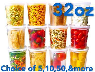 32oz Heavy Duty Large Round Deli Food/Soup Plastic Containers w/ Lids BPA free Heavy Duty Containers