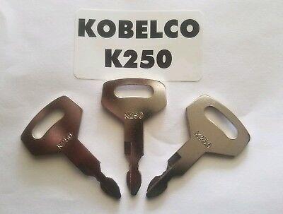 3 Kobelco Excavator Heavy Equipment Keys Oem Logo K250 Fit Case Kawasaki.
