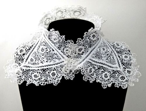 "Antique Irish Crochet Collar 16"" Long, Ruffled High Collar with Points, Dramatic"