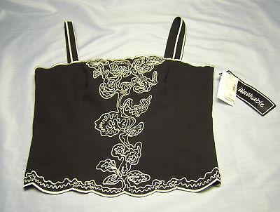 Black Strap Casual Top w White Monogram Design NEW Size 10