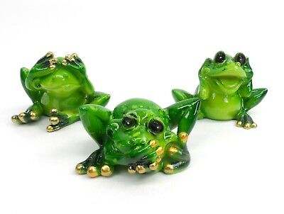 See Speak Hear No Evil Green Frogs Set of 3 Collectible Amphibian Figurine No Evil Frogs