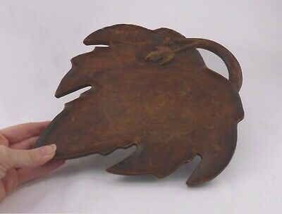 Vintage Wooden Leaf Shaped Tray - Rustic Wood Carved Dish