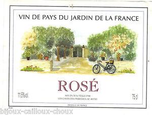 Tiquette de vin vin de pays du jardin de la france rose for Jardin du nil wine
