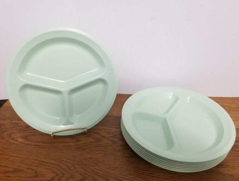 Vintage King-Line Melamine Divided Dinner Plates Mint Green Set of 8 Picnic Camp