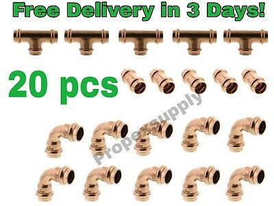 Lot Of 20 34 Propress Copper Fittings.tees Elbows Coupling Free Shipping