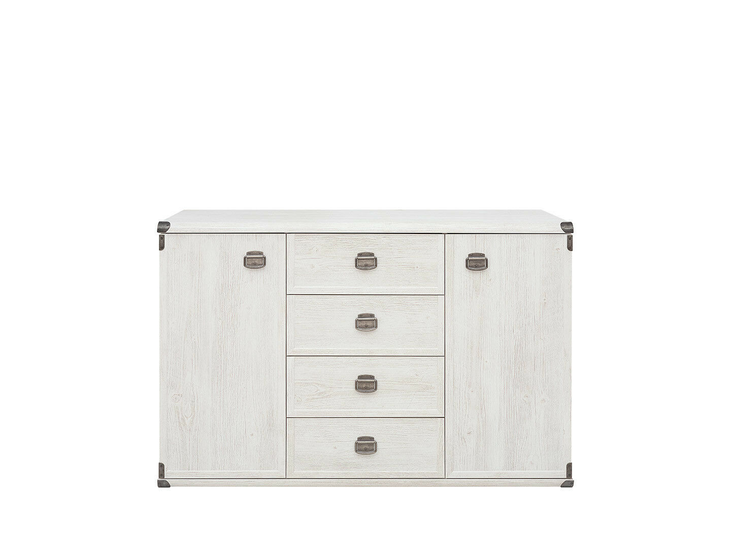 Details About Indiana White Wood Effect Sideboard Dresser Cabinet Drawers Rustic Nautical