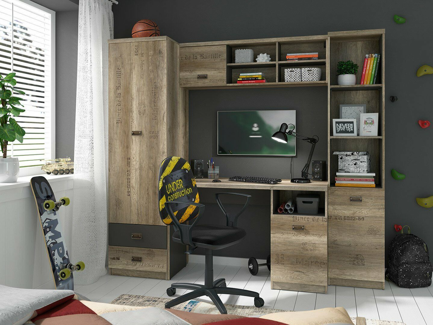Oak Grey Rustic Home Office Furniture Set Tall Unit Wall Shelving Desk Melton Ebay