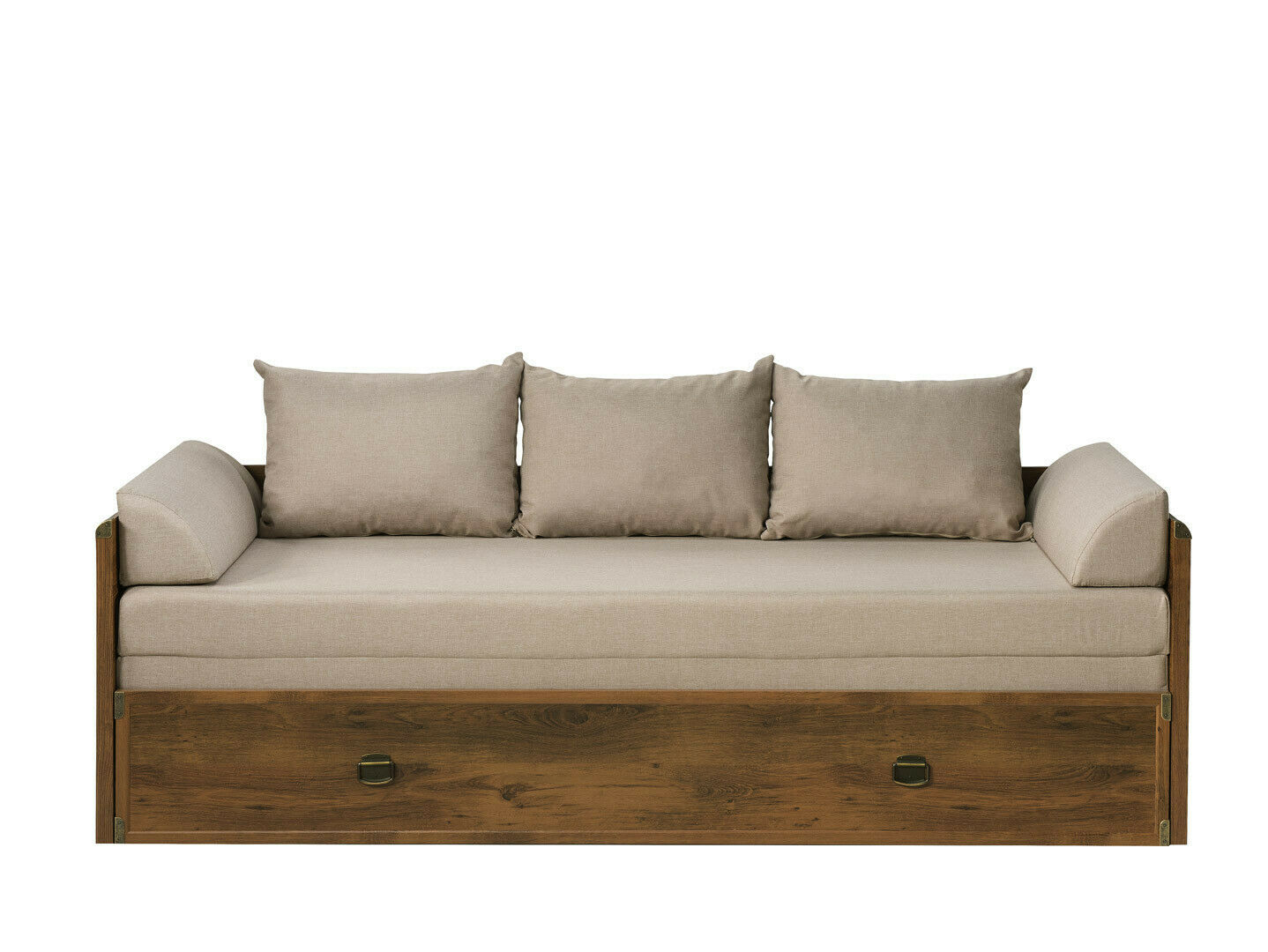 Sofa Bed Storage Beige Fabric Oak