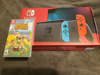 Nintendo Switch Console Blue/Red Joy-Cons w/ Animal Crossing Game Bundle NEW USA