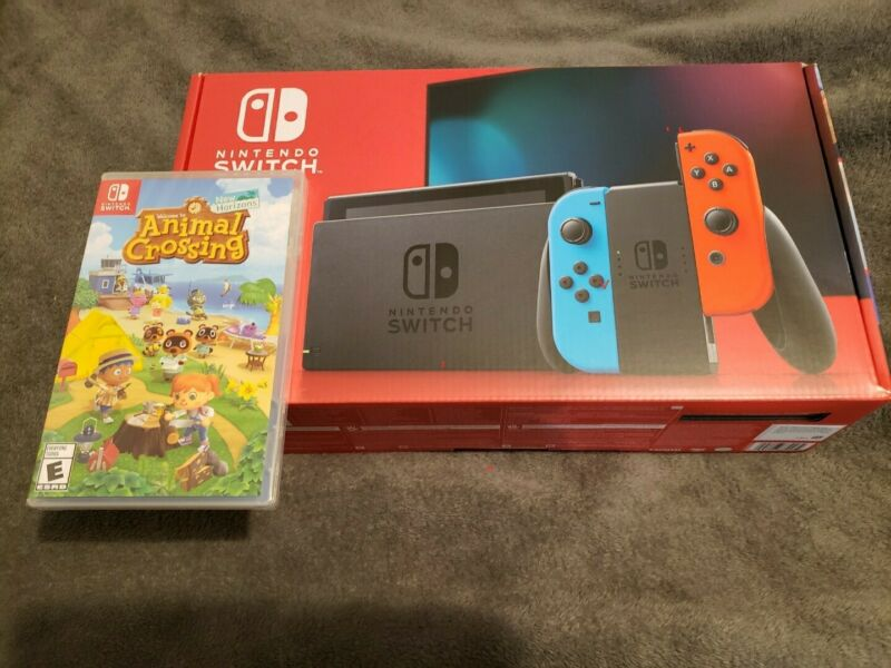 Nintendo Switch Console Blue/Red Joy-Con w/ Animal Crossing New Horizons Bundle