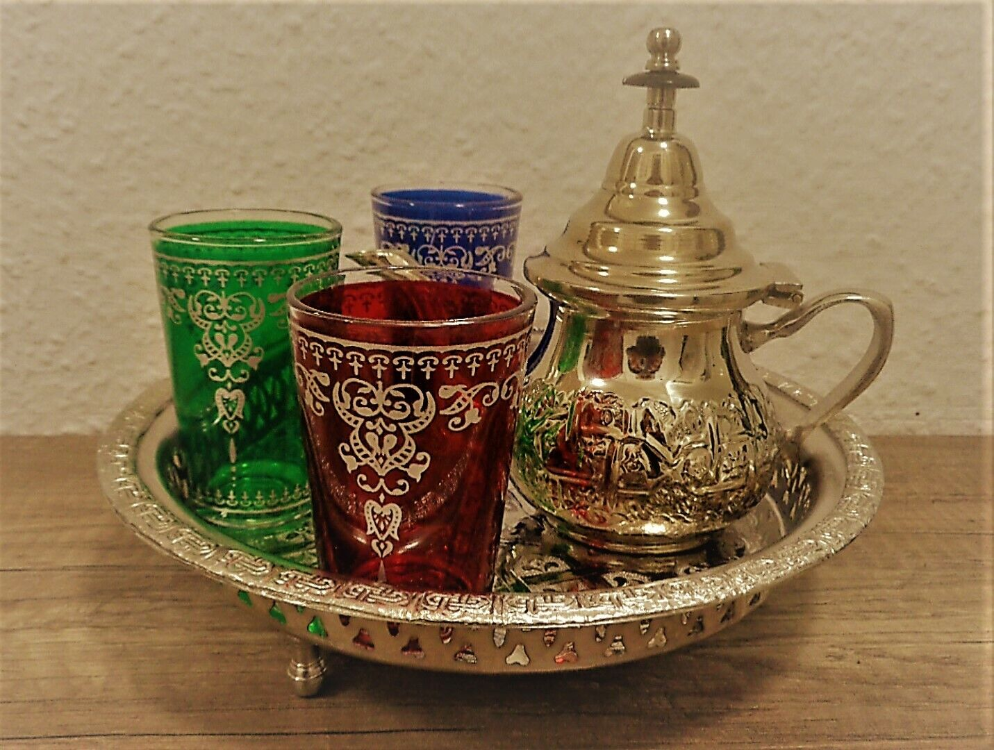 Orientalischer Teeservice 3 Gläser Serviertablett+Teekanne+Teegläser Teeset SIF
