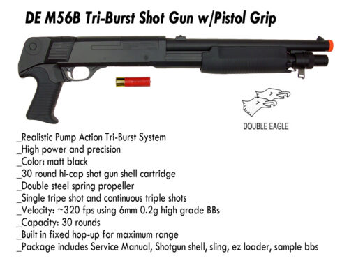 DE M56B Tri-Burst Shot Gun No Stock & Pistol Grip Airsoft Shotgun