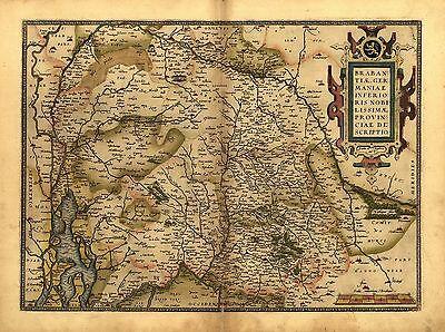 43.2x33cm Brabant Ortelius Vintage Alt Antik Belgien Farbe Holland Landkarte Neu